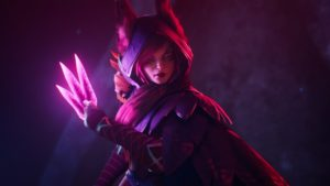 Xayah from League of Legends holding her weapon in the dark