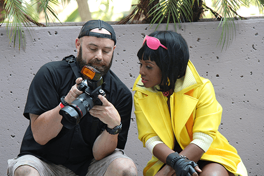 Rusty with Jubilee by @francheezy24_7 givign cosplay photography tips