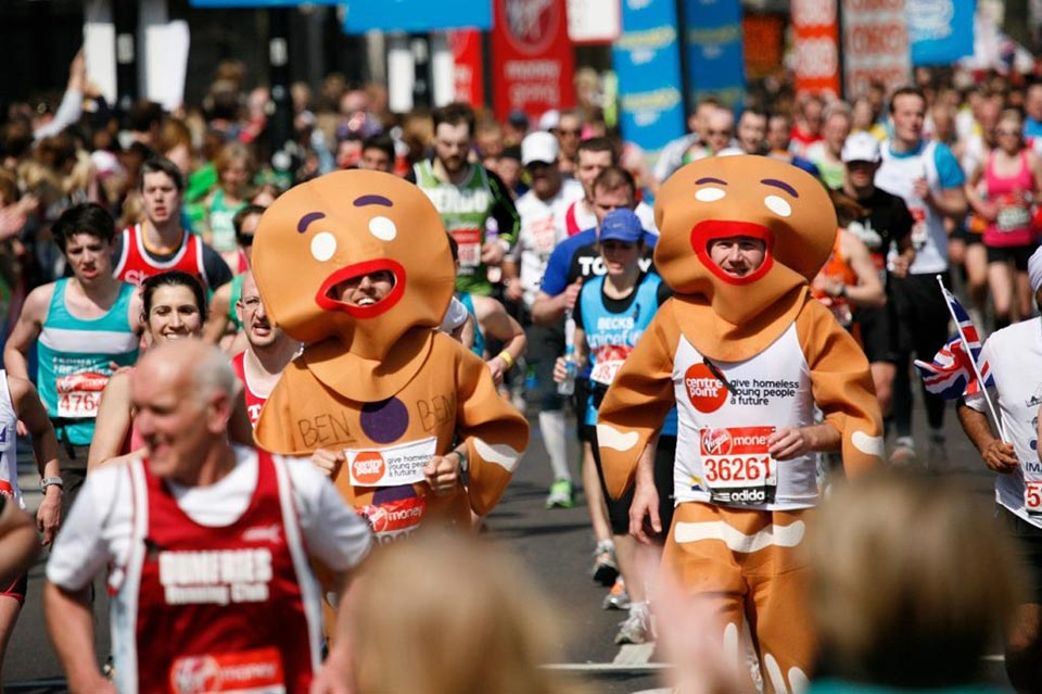 Gingerbread Men Running Costumes at marathon race